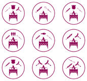 Set of Braziercooking  icons Royalty Free Stock Photo