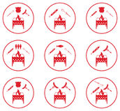 Set of Braziercooking  icons. Vector illustration Stock Images