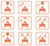 Set of Braziercooking  icons Stock Photos