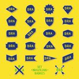 Set brazilian badges. Collection of twenty two handmade badges with abbreviation Brazil - BRA. 22 Vector eps 10 Stock Photography