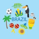 Set of brazilian elements. Stock Photo