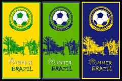Set of Brazilian football posters. Royalty Free Stock Images