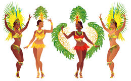Set Brazilian Samba Dancer. Vector Beautiful Carnival Girl Wearing A Festival Costume Is Dancing. Royalty Free Stock Photo