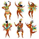 Set of Brazilian samba dancers Rio de Janeiro. Vector carnival girls and guy dancing. Set of Brazilian samba dancers Rio. Vector carnival girls and guy dancing Stock Illustration