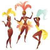 Set of Brazilian samba dancers. Vector carnival girls wearing a festival costume is dancing. Stock Images