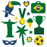 Set of Brazilian symbols and icons,  Stock Image