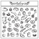 Set of bread and bakery products. Monochrome collection of bread and bakery products royalty free illustration