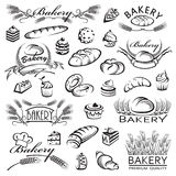 Set of bread and bakery products. Monochrome collection of bread and bakery products Royalty Free Stock Photos