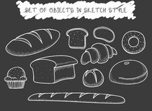 Set 10 bread baking doodle drawn in chalk. Sketch Baguette Royalty Free Stock Image