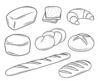 Set of bread illustrations. Set of linear bread illustrations Stock Image