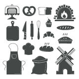 Set of bread products, bakery symbols, coffee shop elements vector. Stock Photo