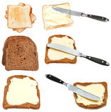 Set of bread toasts with butter isolated Royalty Free Stock Photos