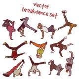 Set of break dancers Stock Photos