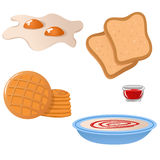 Set of breakfas icons. Set of cute cartoon breakfast icons Royalty Free Stock Image