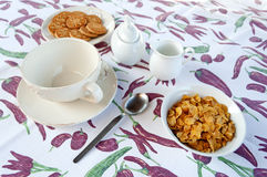 Set for breakfast. With cereals and cookies Stock Images