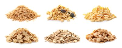 Set with breakfast cereals on white background. Healthy whole grain recipe stock photos