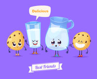 Set of breakfast characters. Vector cute cartoons Royalty Free Stock Image