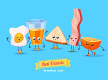 Set of breakfast characters. Vector cute cartoons Royalty Free Stock Photos