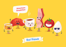Set of breakfast characters. Vector cute cartoons Royalty Free Stock Photography