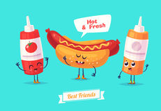 Set of breakfast characters. Vector cute cartoons Stock Images