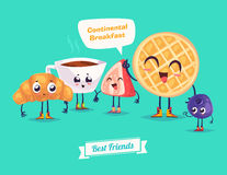 Set of breakfast characters. Vector cute cartoons Stock Photography