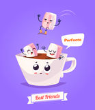 Set of breakfast characters. Vector cute cartoons Stock Photo
