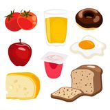 Set of  breakfast elements, collection of food illustrations Royalty Free Stock Images