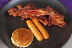 Set of breakfast, ham, sausage and pancake Royalty Free Stock Images