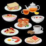 Set of breakfast icons. Sandwich, tea, coffee with cookies, pancakes with chocolate, toasts, fried egg with sausage. Bowl of oatmeal porridge, corn flakes Royalty Free Stock Images