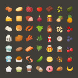 Set of breakfast product icons. Set of colorful icons of everyday breakfast products grouped into categories Stock Images