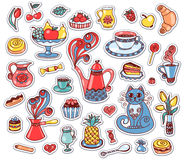 Set of breakfast stickers Royalty Free Stock Images