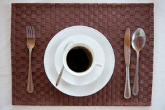 Set of breakfast tableware. With a cup of coffee Stock Photos
