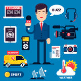 Set of breaking news icons Royalty Free Stock Image