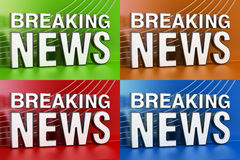 Set of Breaking News screens with colored background, 3D renderi Royalty Free Stock Images