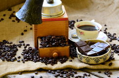 Set of breaking time coffee with coffee mill and rustic bell. Royalty Free Stock Photos