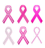 Set of Breast cancer award ribbons Stock Images