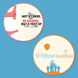 Set of 2 breast Cancer Awareness badge. With Woman and raising hands Stock Photos