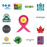 Set of breast cancer ribbon, 30 year, unemployment, rhino, free, canada leaf, tiara, badminton, camper icons. Set Of 13 simple  icons such as breast cancer Stock Photo