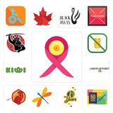 Set of breast cancer ribbon, 50 years anniversary, 70 years, dragonfly, sparta, unemployment, kiwi, gluten free, icons. Set Of 13 simple  icons such as breast Royalty Free Stock Photo