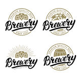 Set of Brewery hand written lettering logo, label, badge. Royalty Free Stock Photo