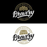 Set of Brewery hand written lettering logo, label, badge template. Stock Photo