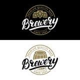 Set of Brewery hand written lettering logo, label, badge template. Set of Brewery hand written lettering logo, label, badge template with hop and wooden barrel Stock Photo