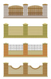 Set of brick fence. On a white background royalty free illustration