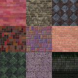 Set of brick pavement generated textures Royalty Free Stock Images
