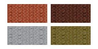 Set brick wall. Four rectangular background. Vector Royalty Free Stock Image