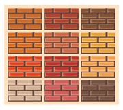 Set of brick wall textures in different colors Royalty Free Stock Photo