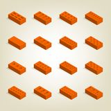 Set of 3d bricks in isometric, vector illustration. Set of bricks of different shapes, top view. Elements of the design of building materials. Flat 3d isometric Stock Photography