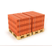 A set of bricks made on the wooden pallets. Royalty Free Stock Images
