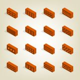 Set of 3d bricks in isometric, vector illustration. Set of bricks of various shapes, view to the left. Elements of the design of building materials. Flat 3d Stock Images