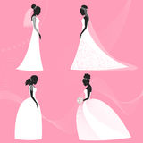 Set of bride silhouette for use in design for wedding card, invitation, poster, banner Stock Photos